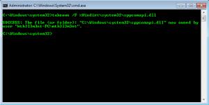 Take DLL Ownership in windows 7